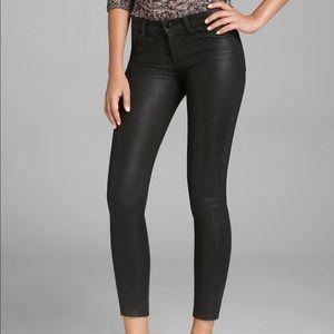J Brand Super Skinny Black Lacquered Quartz Jeans